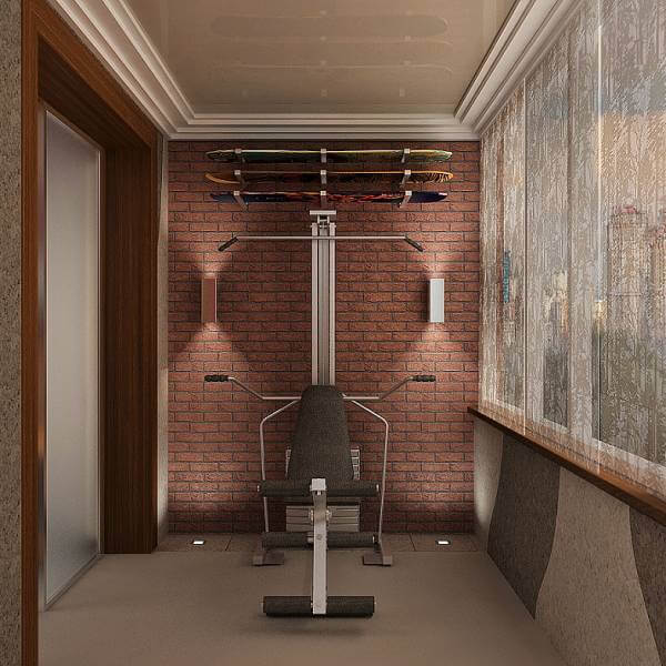 дизайн балкона спортзал