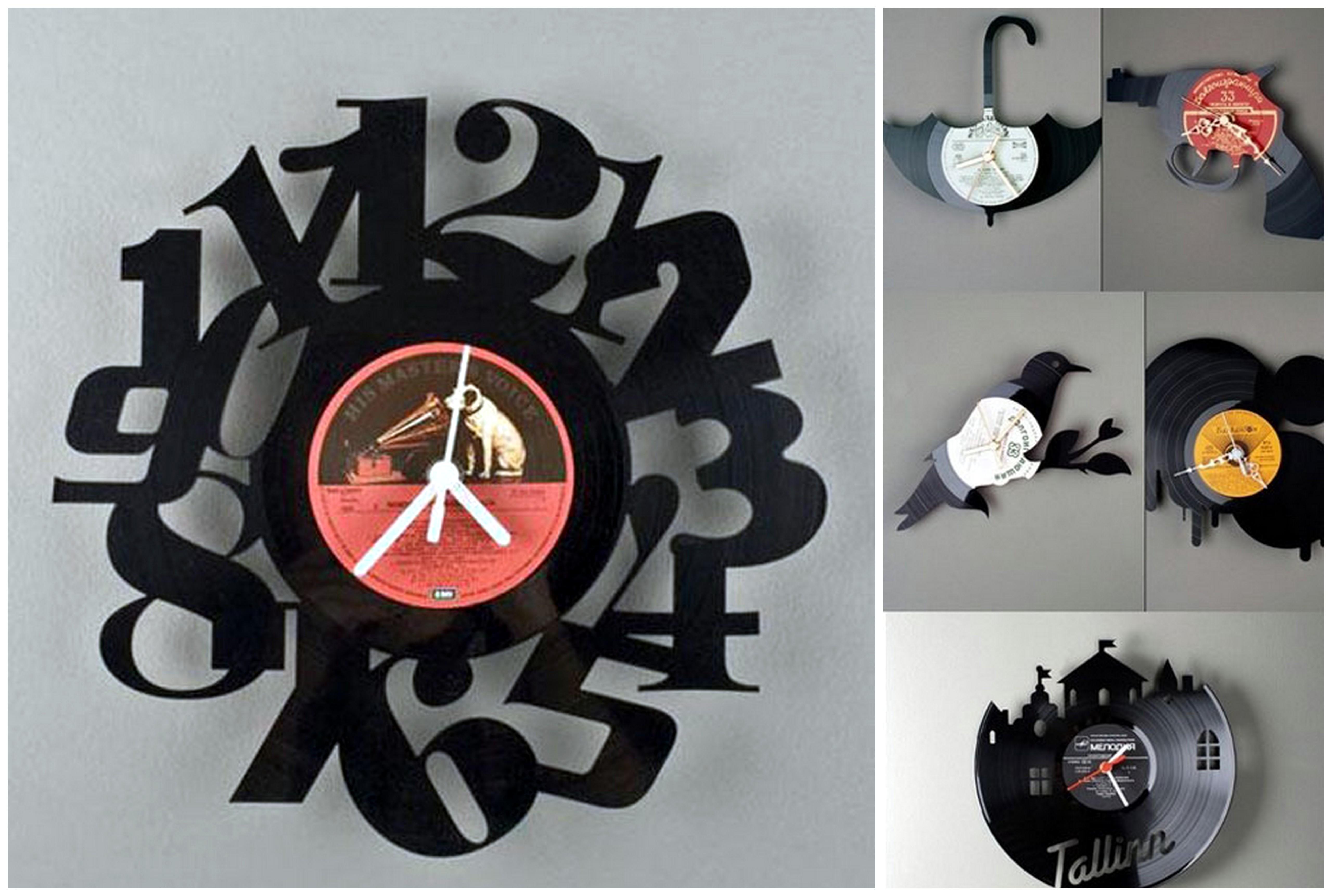 Часы из виниловых пластинок своими руками: абстрактные и в